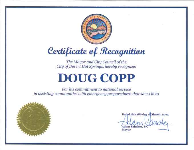 another of 2,000 thank you letters and awards received by Doug Copp for Humanitarian work.